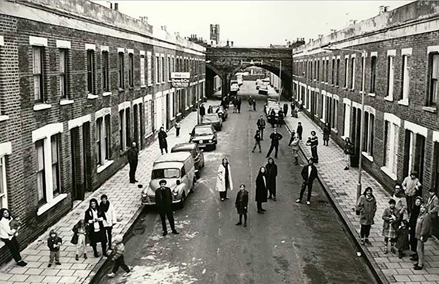 black and white photograph of East London