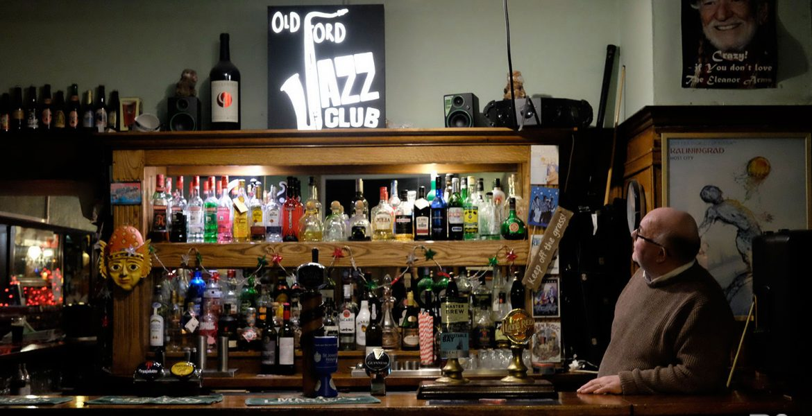 Frankie Colclough and the Old Ford Jazz Club sign