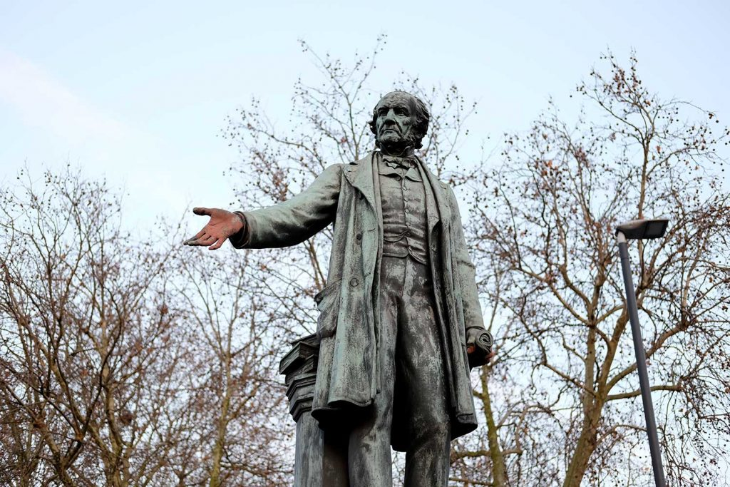 The statue of William Gladstone outide Bow Church, one of the statues and monuments in Tower Hamlets.