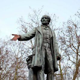 The statue of William Gladstone outide Bow Church