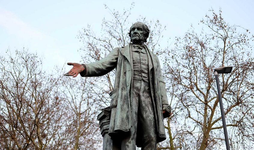 The red hands of William Gladstone's statue