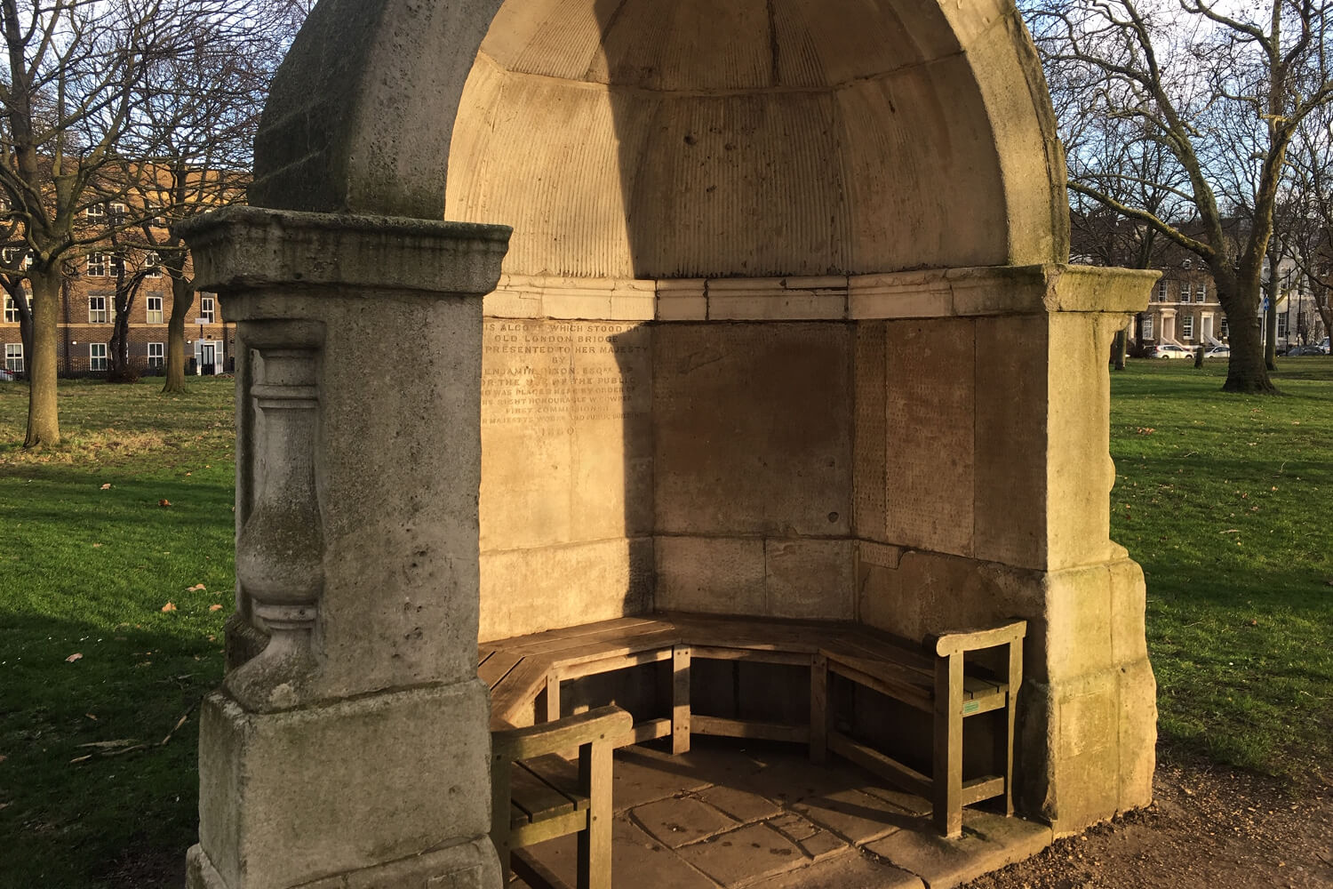 One of the stone alcoves in Victoria Park