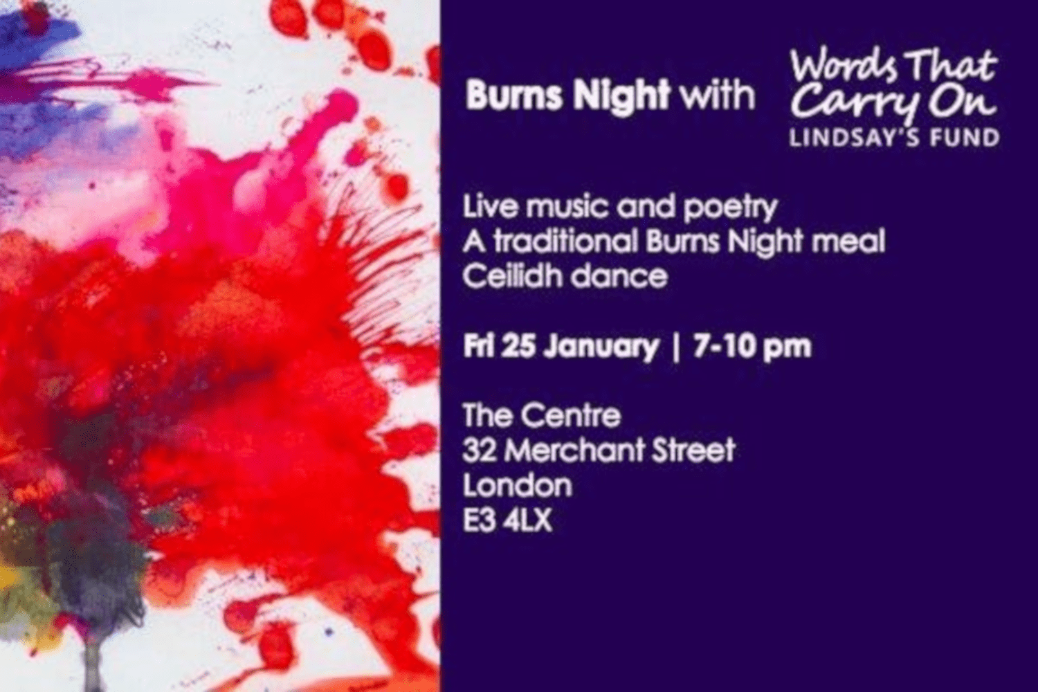Burns night event poster Words That Carry On