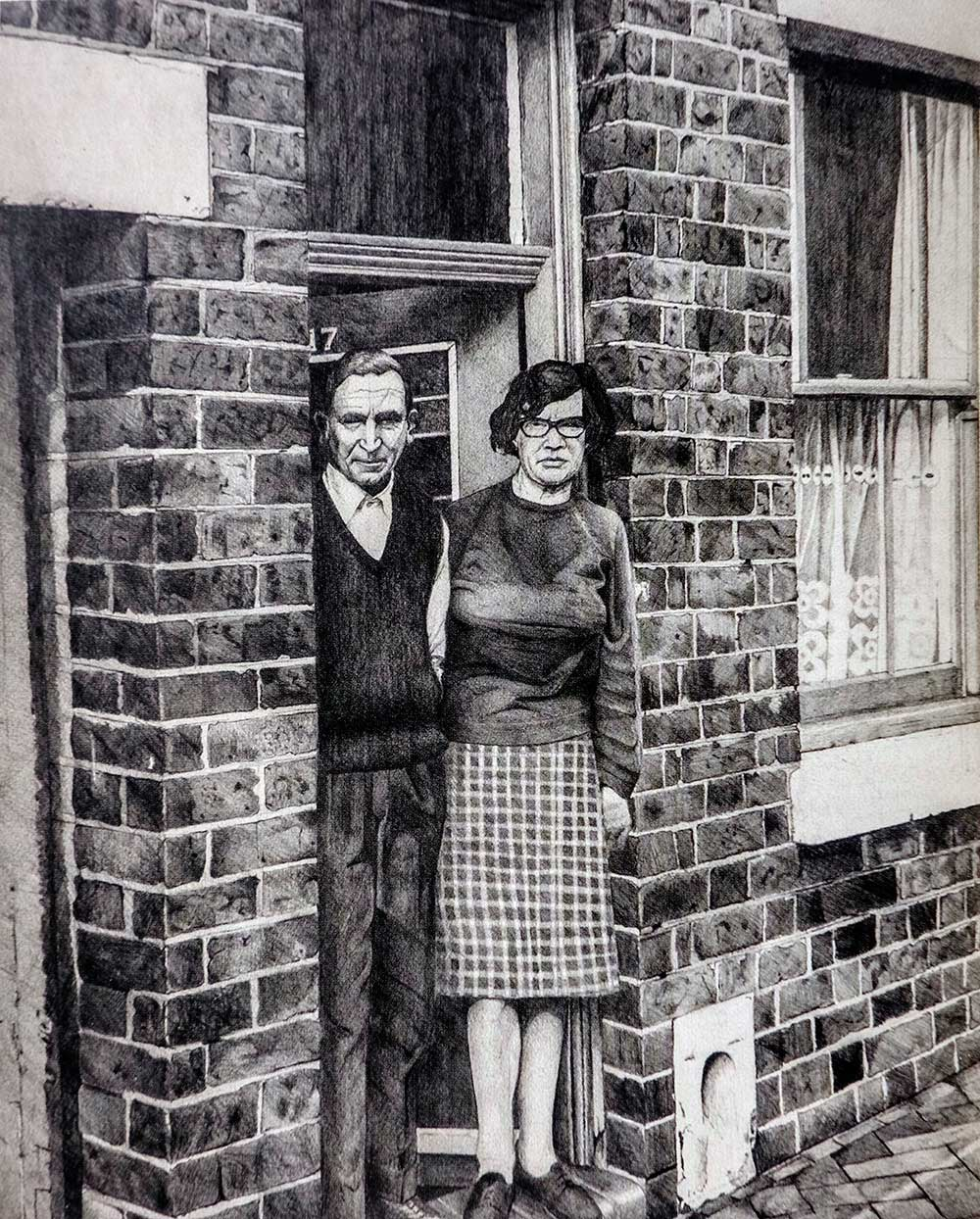 Doreen Fletcher pencil drawing of her parents