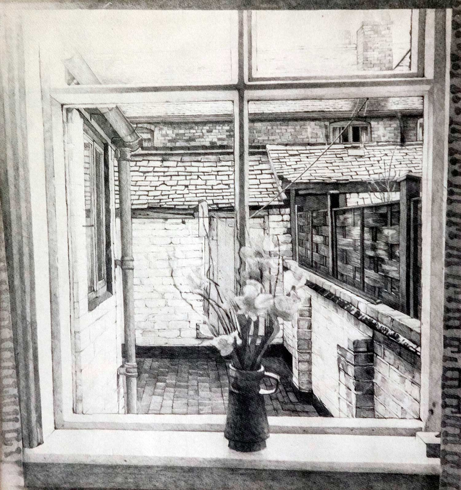 Doreen Fletcher's pencil drawing of 17 Bailey Street, Newcastle-under-Lyme, 1975