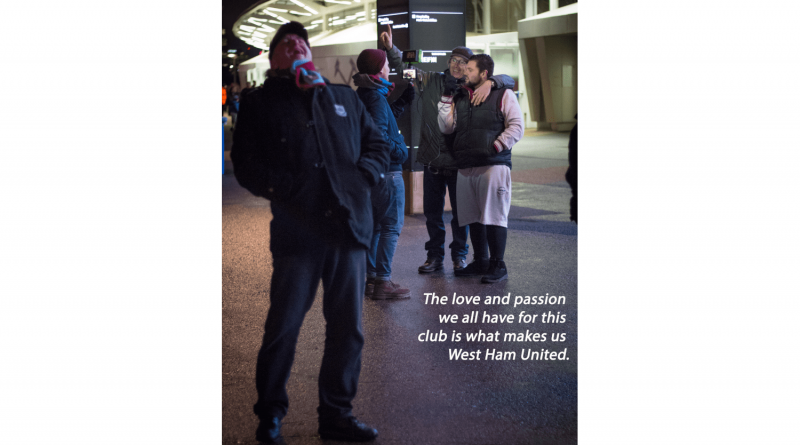 West Ham football fans from Dawud Marsh's From the Stands exhibition