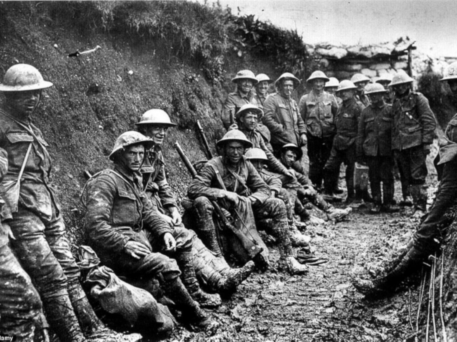 Allied soldiers in the trenches during World War One