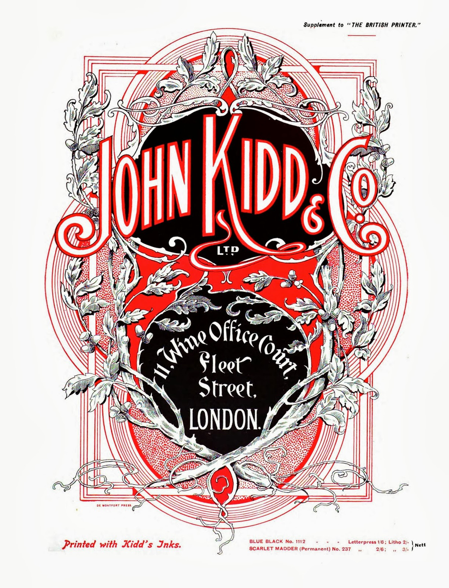 John Kidd & Co advertisement in The British Printer