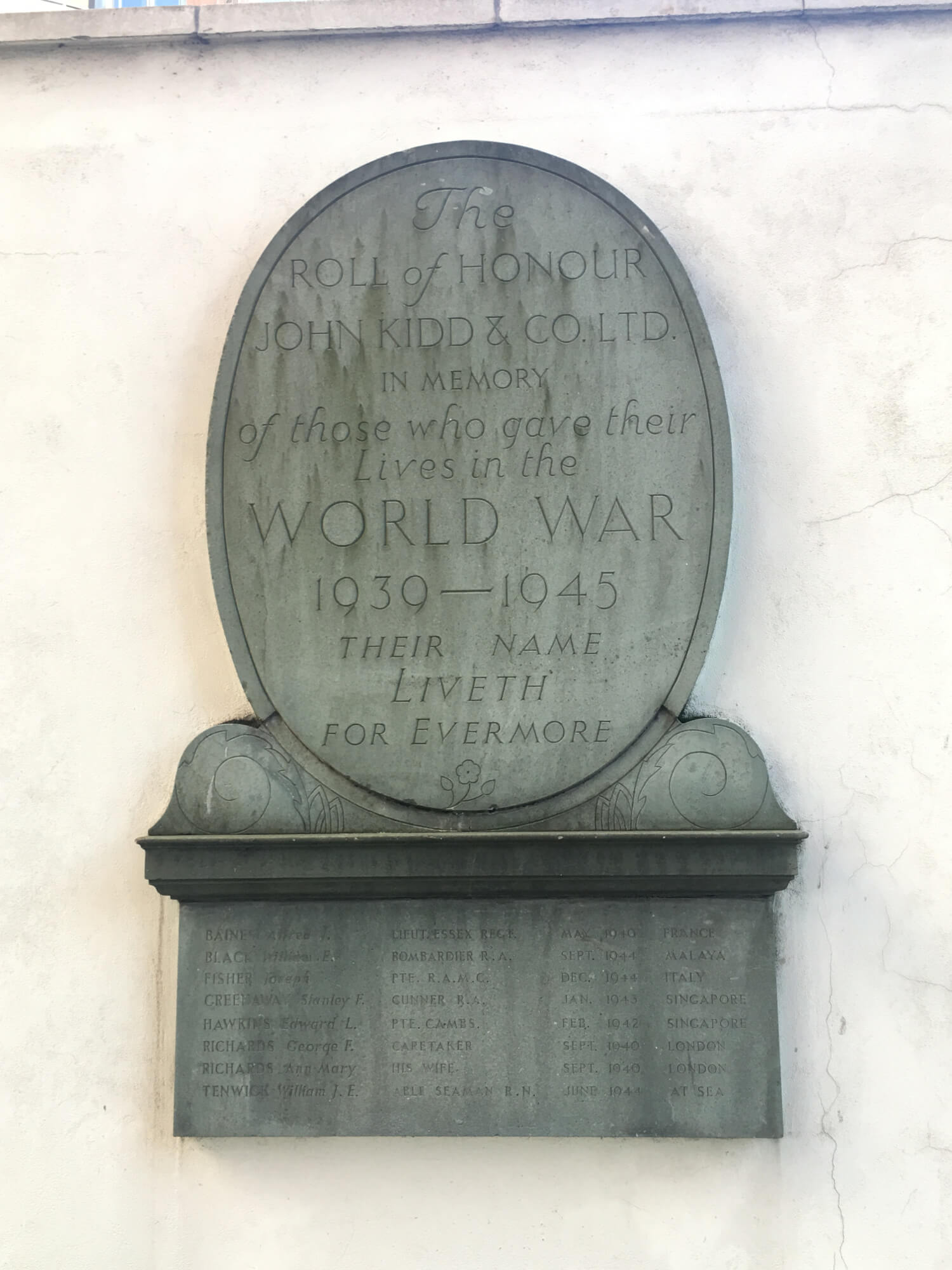 Kidd & Co memorial plaque
