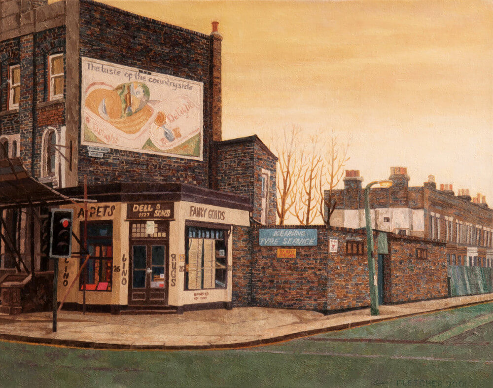 Lino Shop painting by Doreen Fletcher