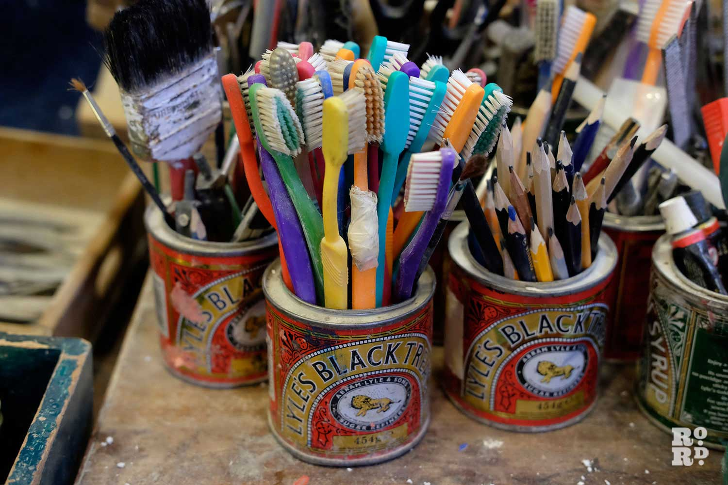 Toothbrushes and sculpting tools in Paula Haughney's studio