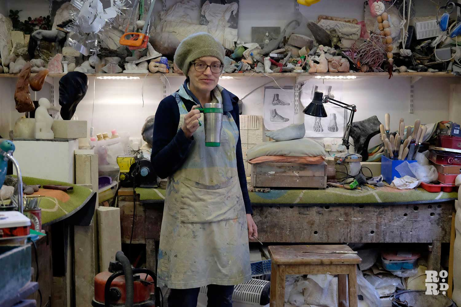 Sculptor Paula Haughney in her Bromley-by-Bow studio