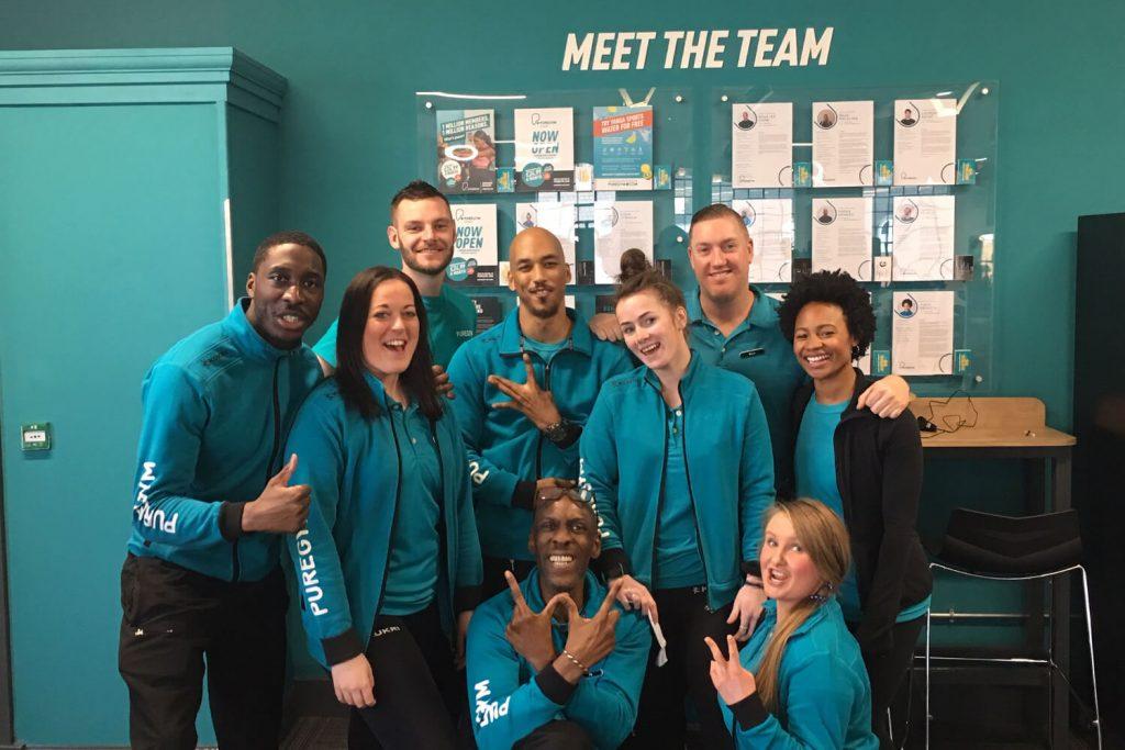 Team photo of PureGym staff at Bow Wharf