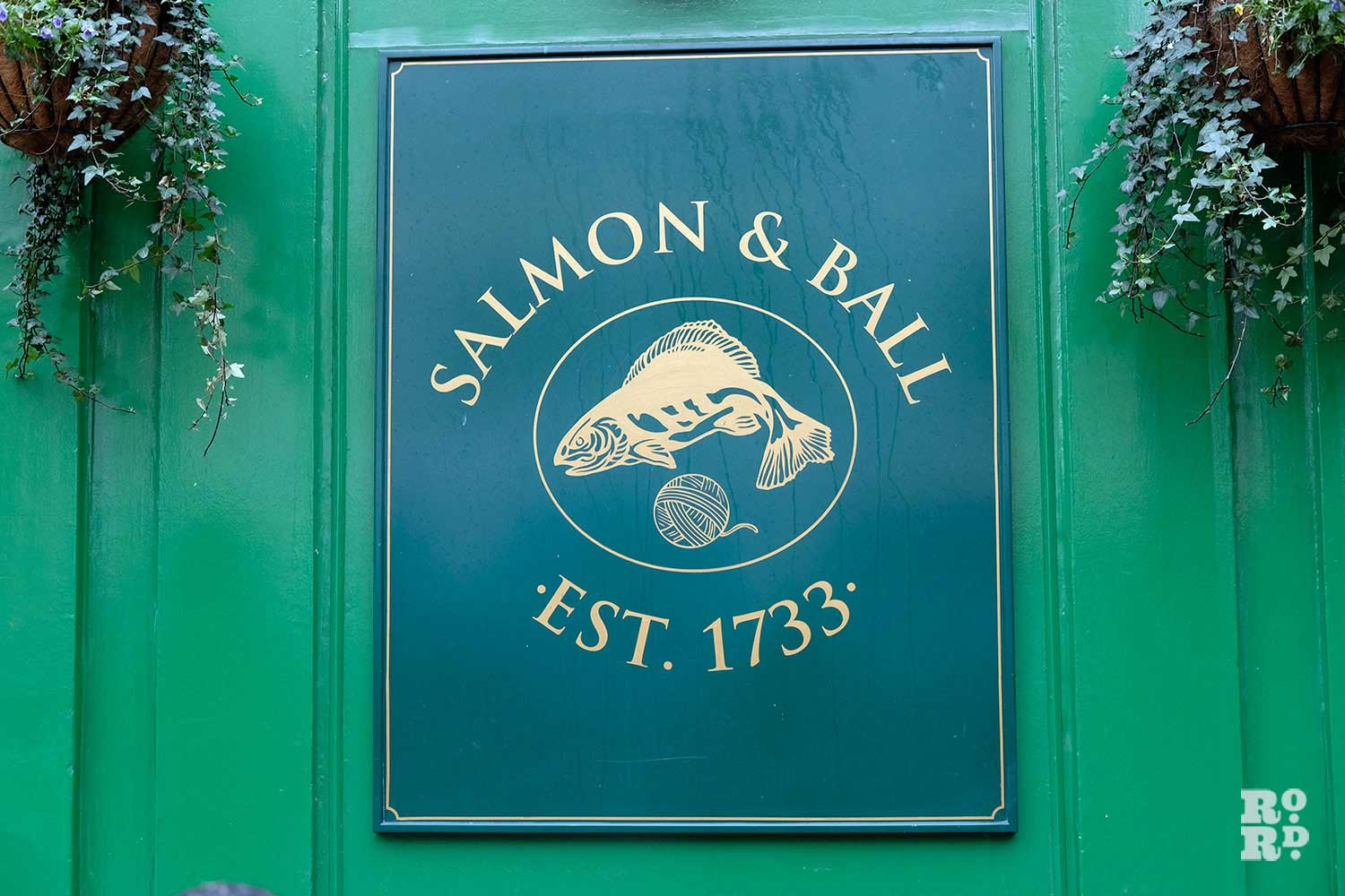 The Salmon and Ball pub plaque