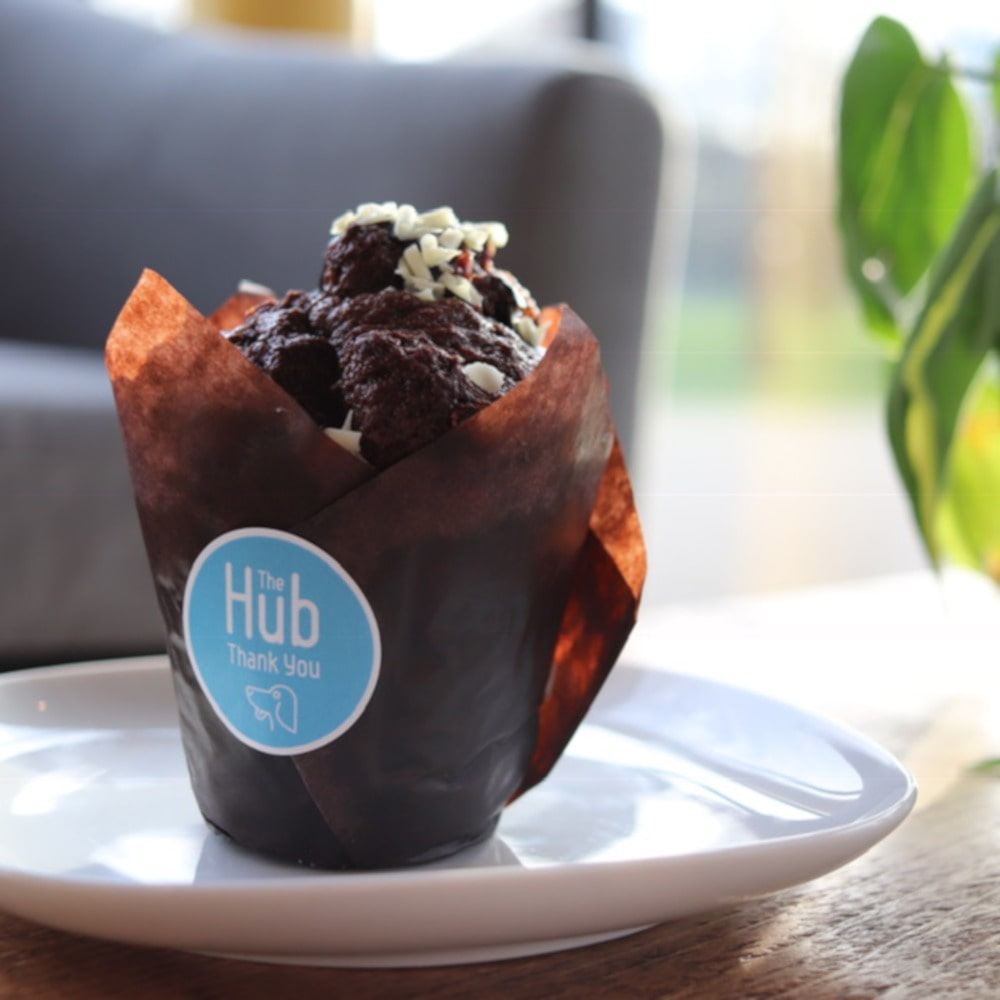 A photo of a muffin from The Hub