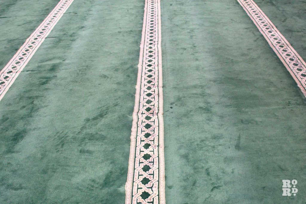 The carpet at the Bow Muslim Community Centre