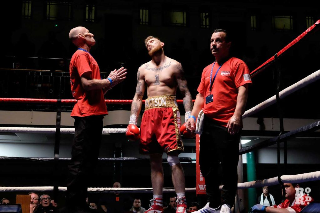 Ollie Patterson stands in his corner before his fight against Harry Matthews at York Hall