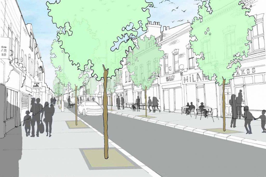 Liveable Neighbourhood visualisation of Roman Road, Bow, East London