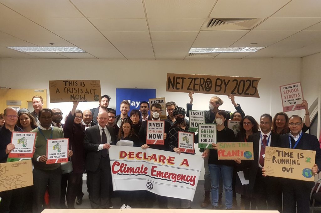 Mayor John Biggs and councillors join petitioners following the declaration of a climate emergency