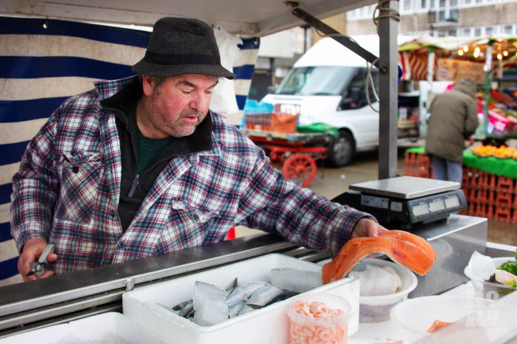 Fishmonger Derek Downey in Globe Town Market Square