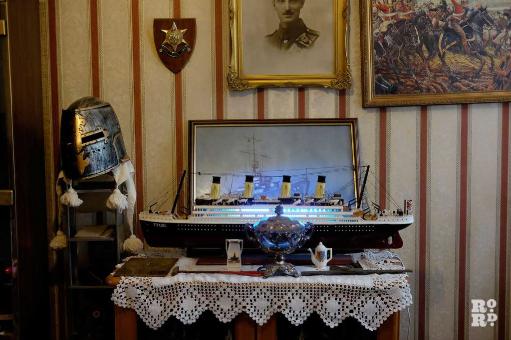 A model of the Titanic at Eddie Brown's home in Bow, East London