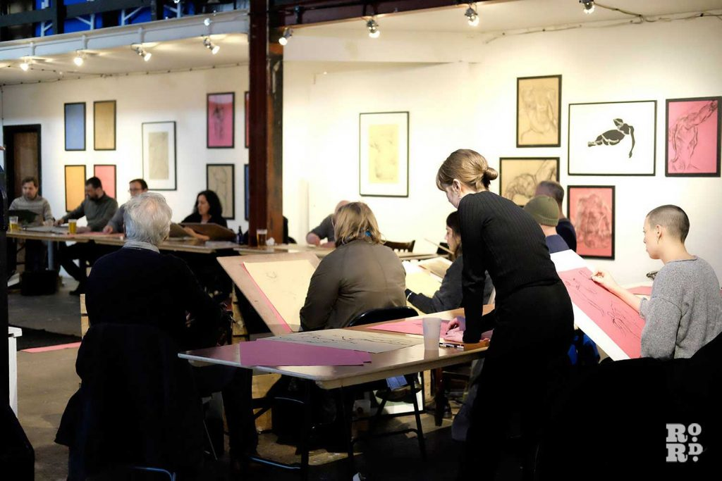 Sketchers at a Hackney Wick Life Drawing session at Stour Space