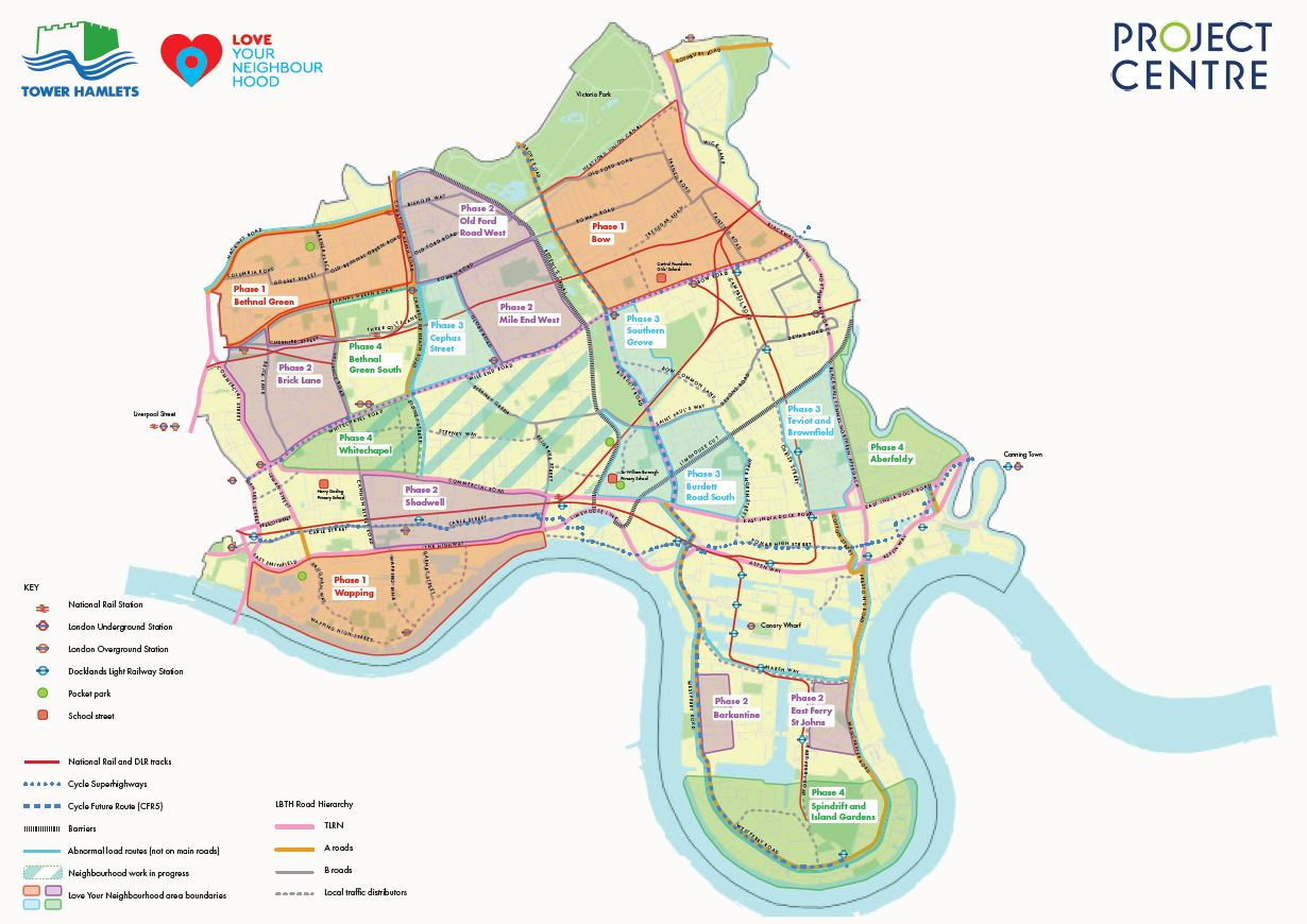 Liveable Streets Tower Hamlets project map