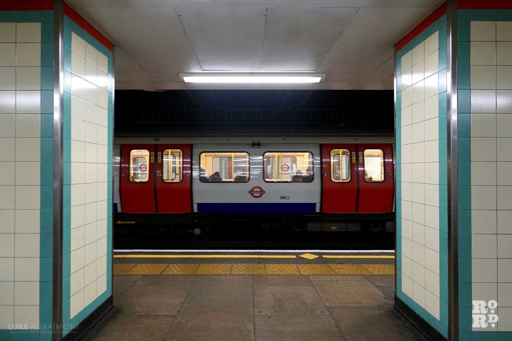 platform at mile end tube station with central line train