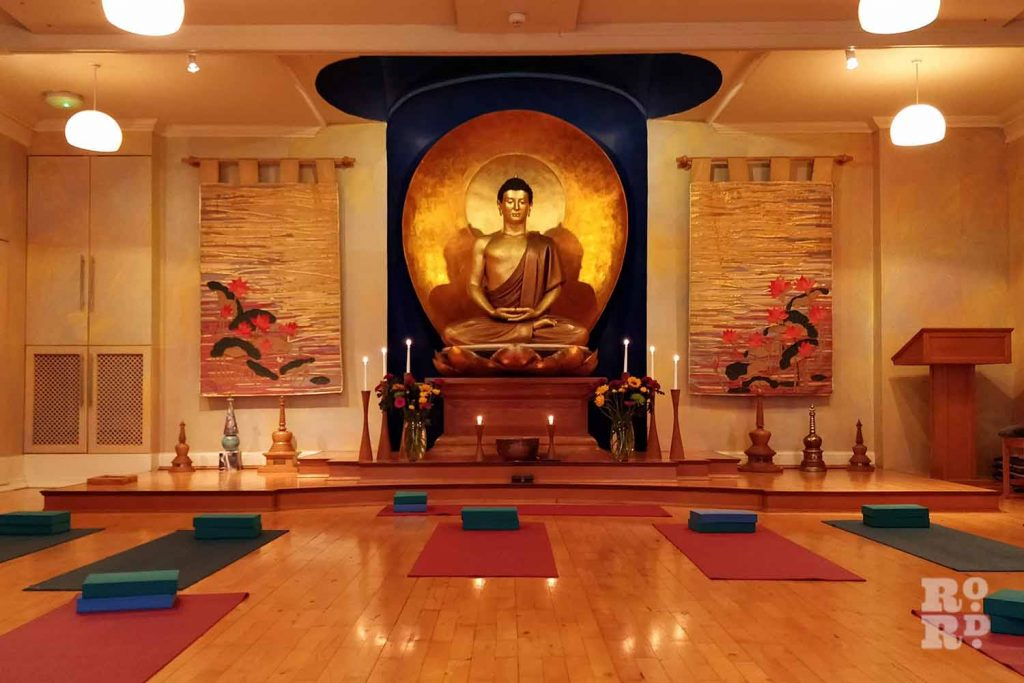Yoga class setup at London Buddhist Centre