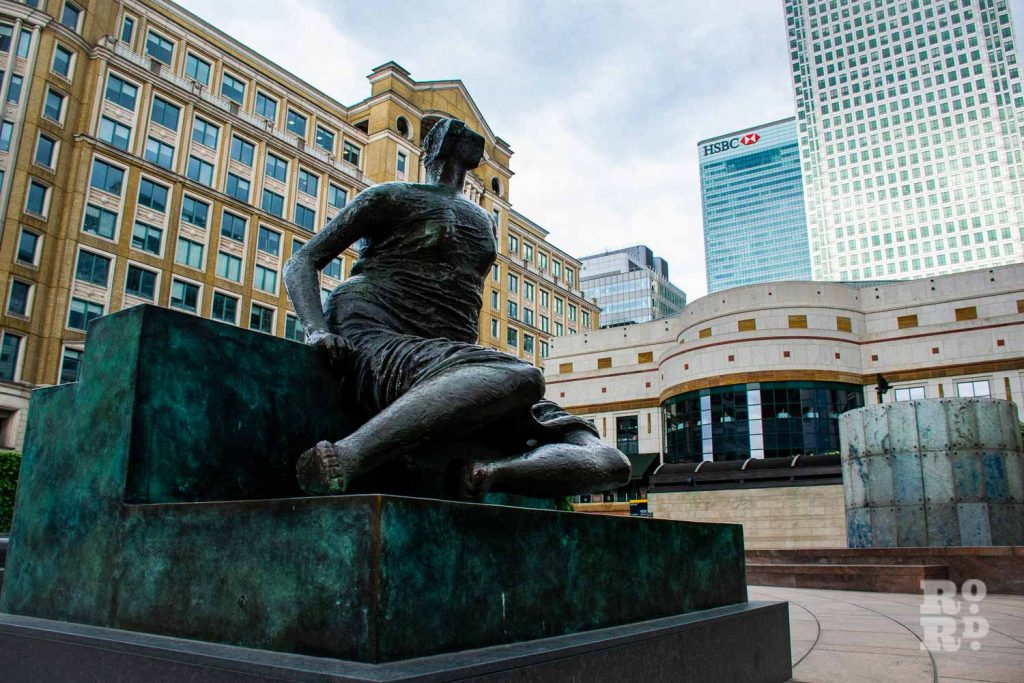 Old Flo statue in Canary Wharf, Tower Hamlets.