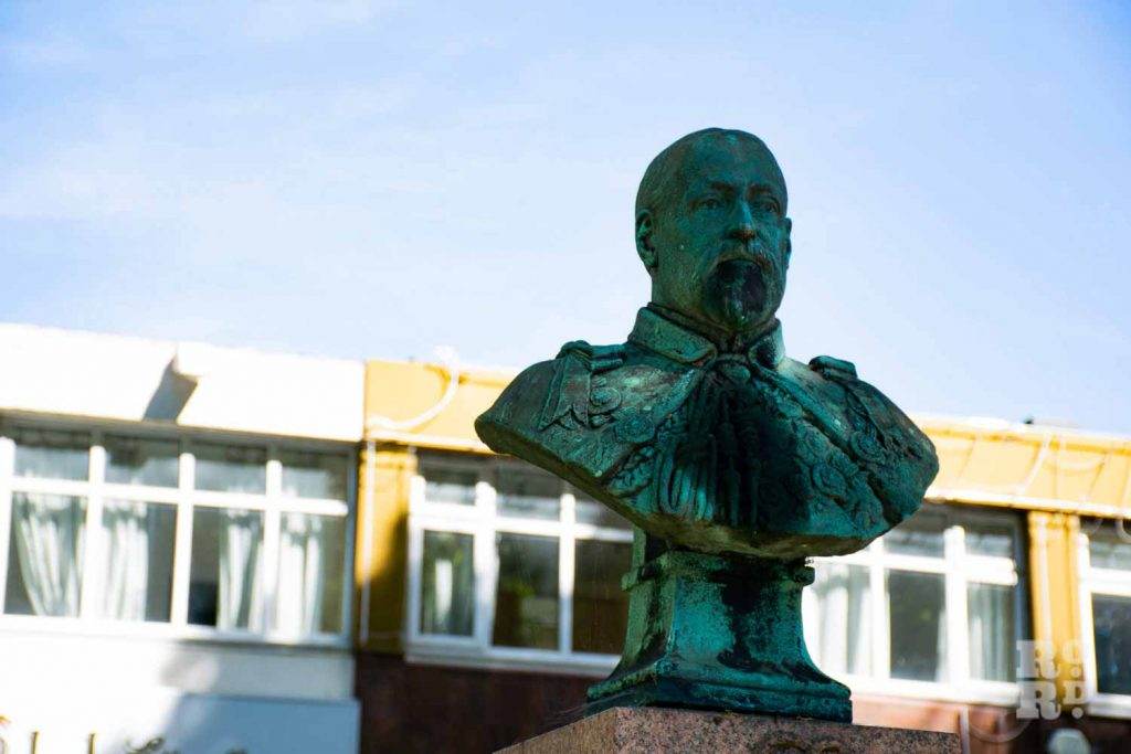 Edward VII bust on Mile End Road, East London. Statues, monuments Tower Hamlets.