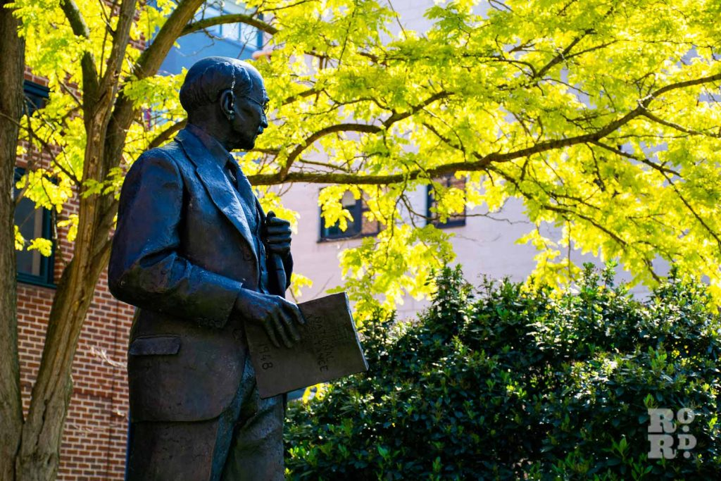 Statue of Clement Attlee outside Queen Mary University London. Statues, monuments Tower Hamlets.
