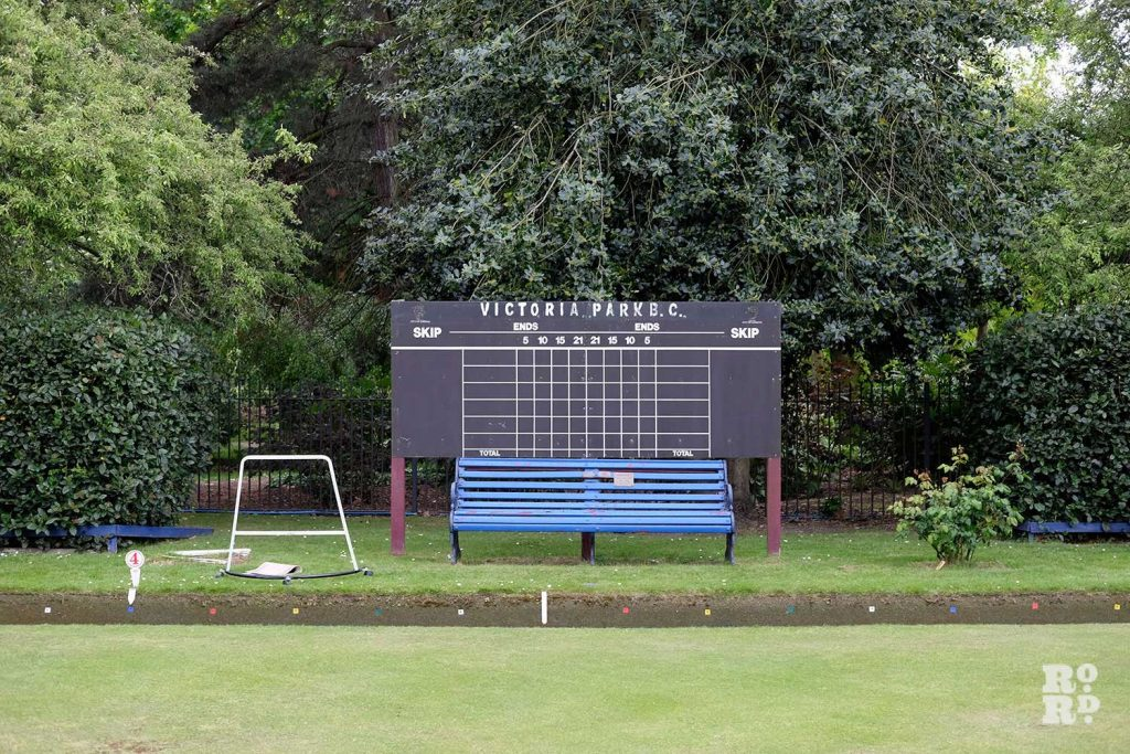 Scoreboard at the Victoria Park Bowls Club in East London