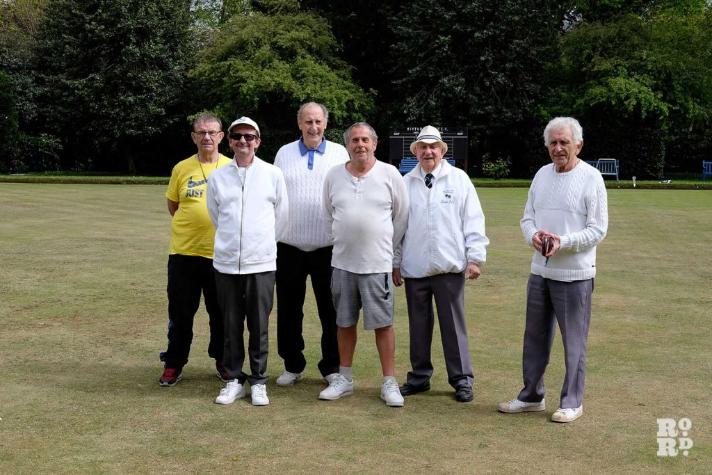 Stephen, Paul, Terry, Ted, Brian, and Murray at the Victoria Park Bowls Club in East London