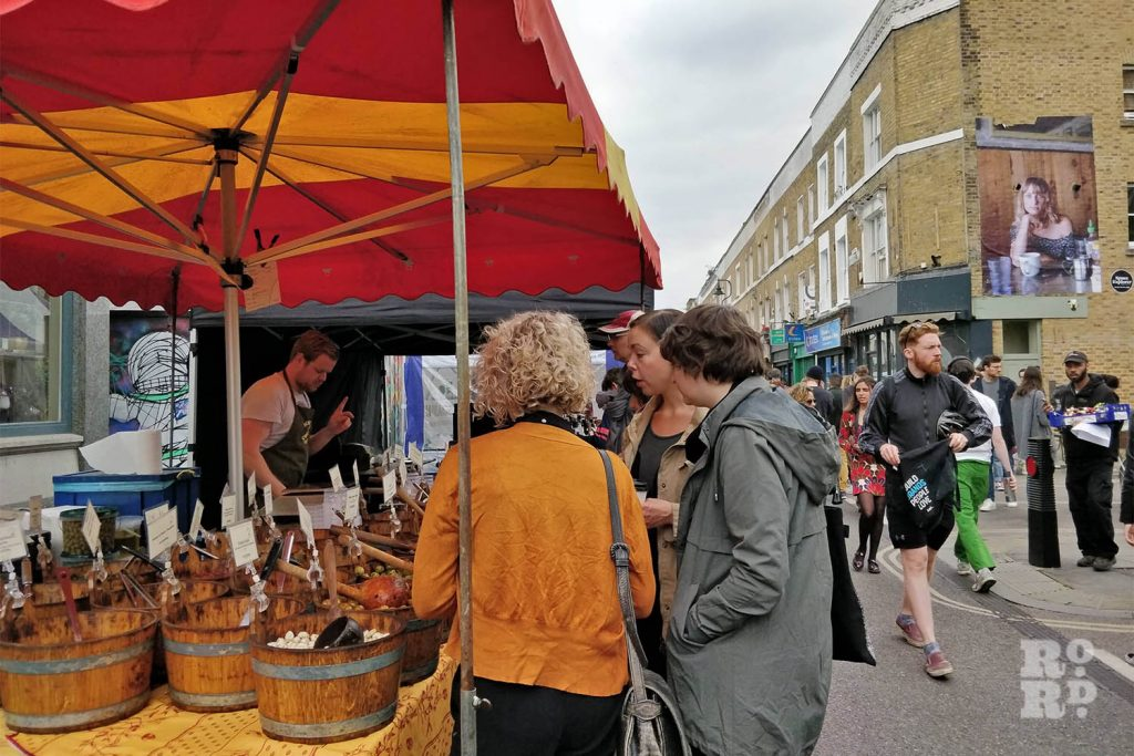 A fresh food stall at Broadway Market, East London.