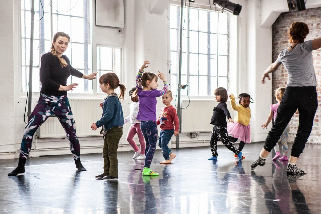 A children's dance class at Chisenhale Dance Space