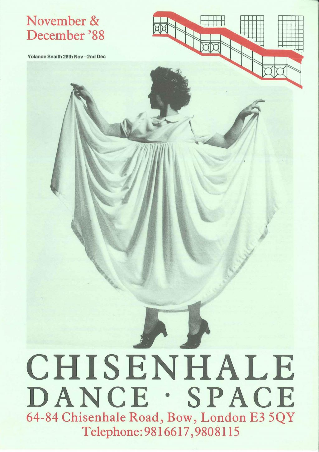 A 1988 poster advertising a Chisenhale Dance Space performance
