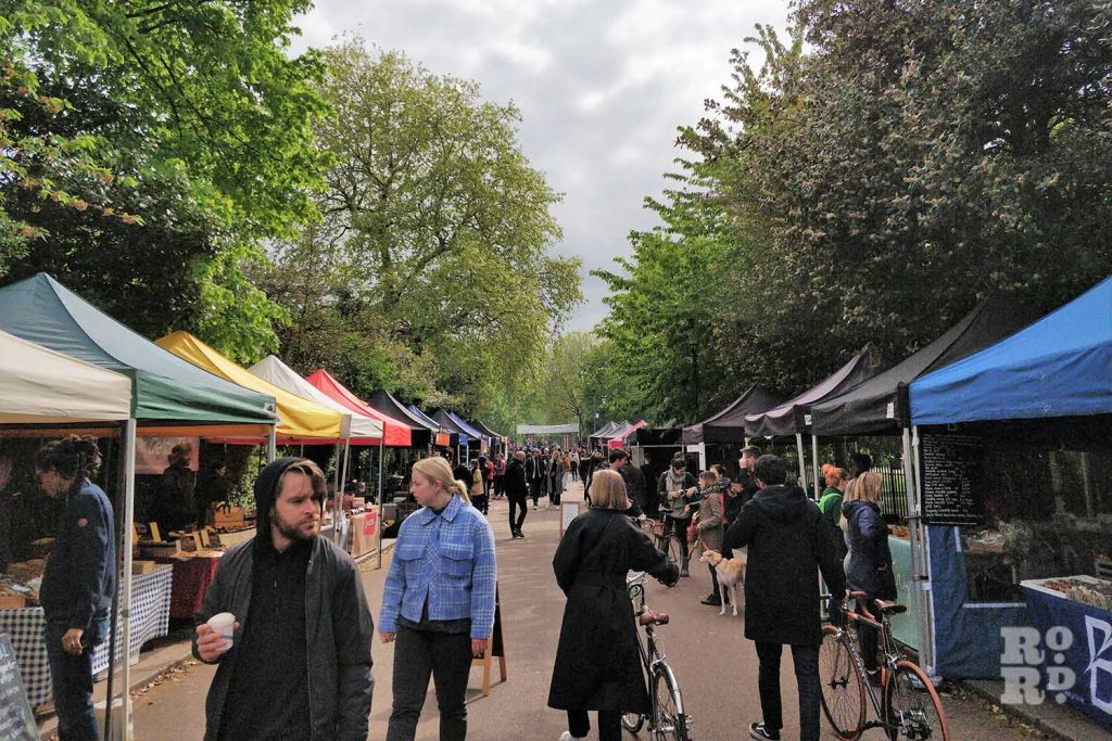Victoria Park Market in East London on a cloudy day