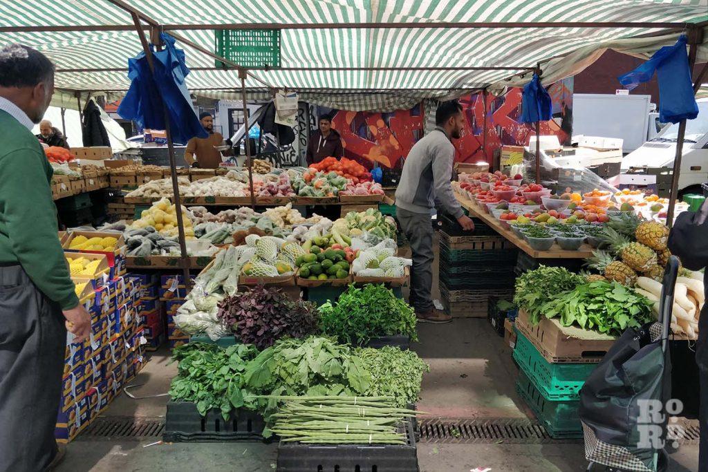 A produce stall at Whitechapel Market, East London