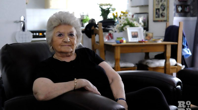Margie Keefe aka the Grime Gran at her home in Bethnal Green