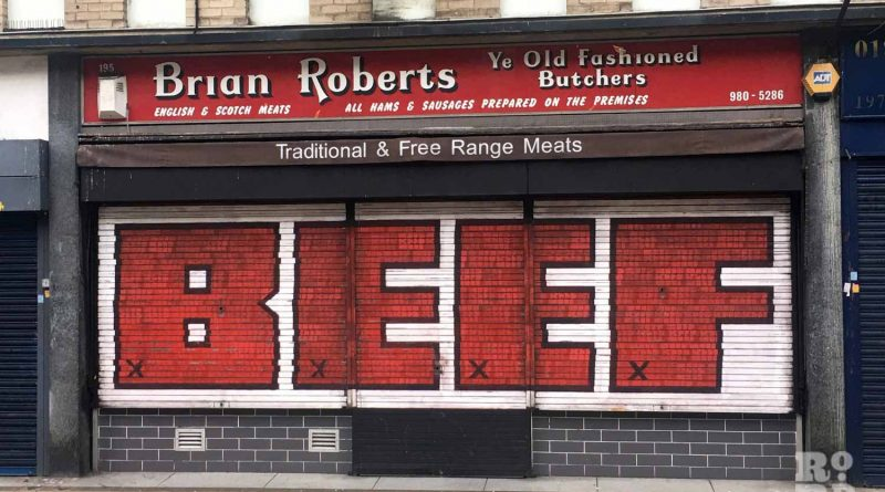Shutter art at Peckover Butchers on Roman Road