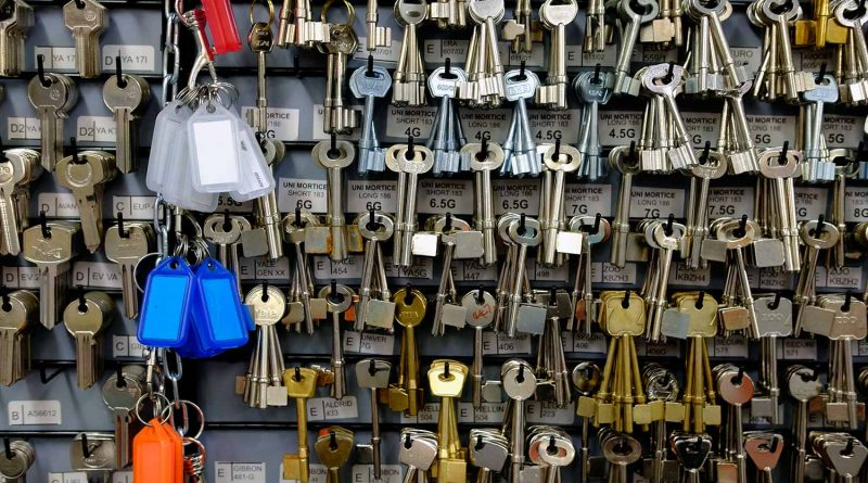 Keys hanging on wall at Thompsons hardware store on Roman Road