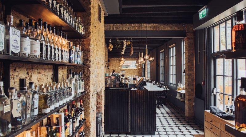 Interior of East London Liquor Company restaurant at Bow Wharf