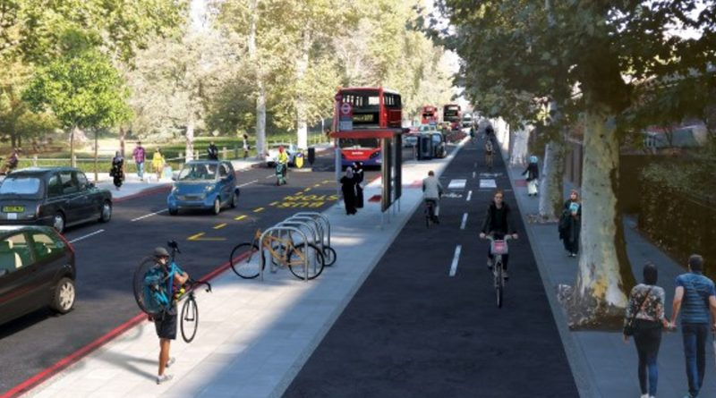 TfL mockup of a cycle-friendly Burdett Road in East London