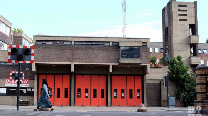 Exterior shot of Bethnal Green fire station on Roman Road