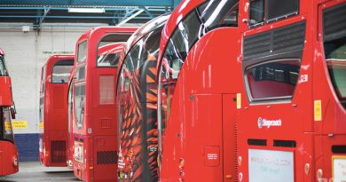 Back-ends of the No 8 Routemaster bus at Bow Garage East London