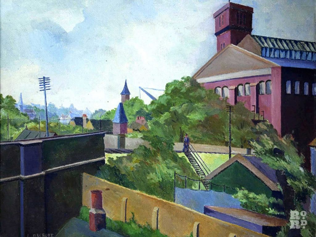 Painting of Bryant and May match factory by Grace Oscroft