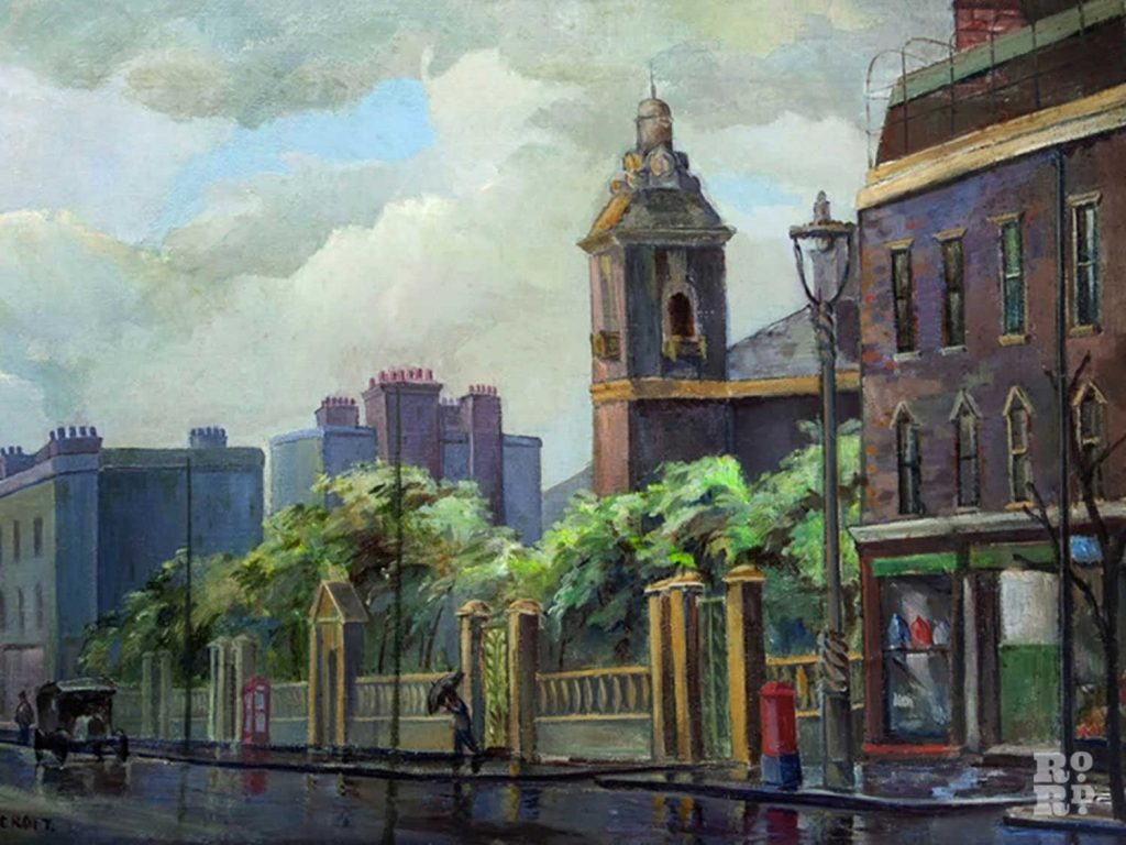 Painting of St Clement Hospital by Grace Oscroft of the East London Group