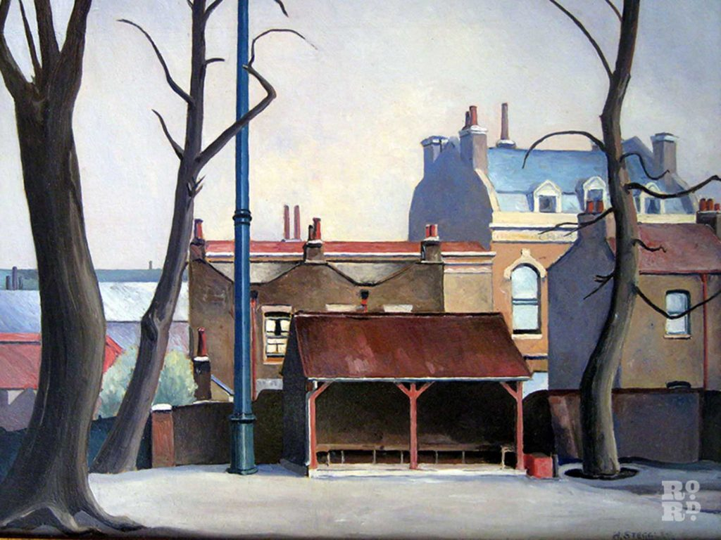 Painting of Grove Hall Park by Harold Steggles of the East London Group