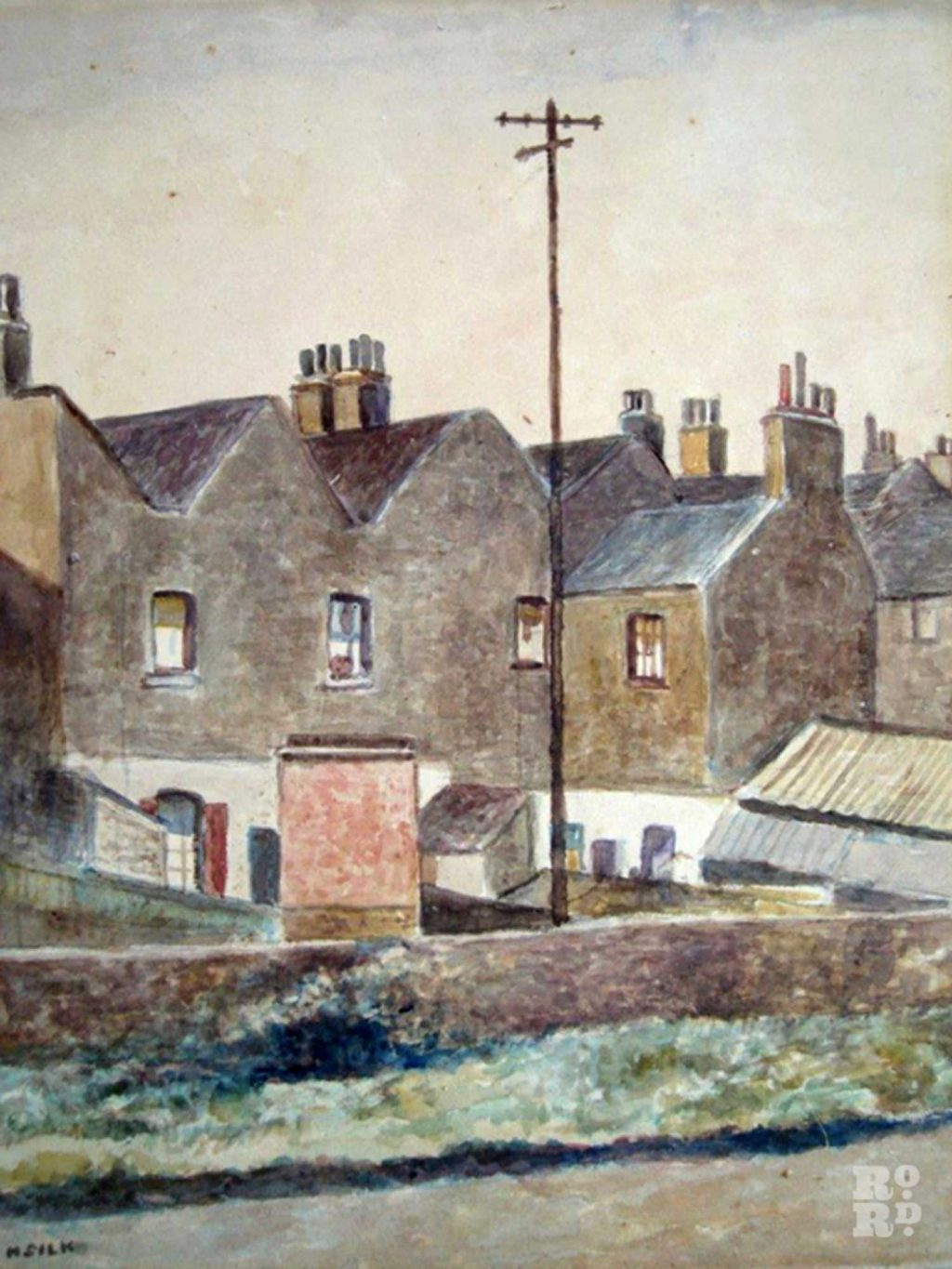 Painting of old houses by Henry Silk of the East London Group